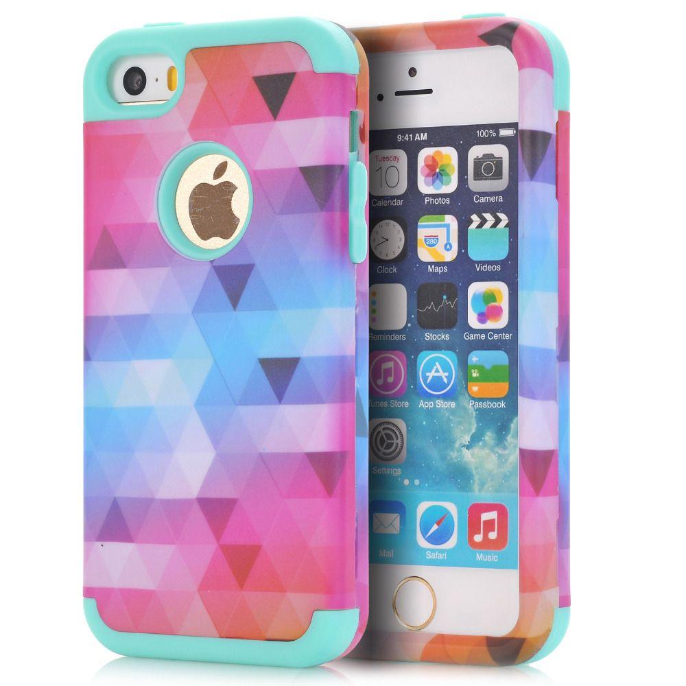 Cas de Couverture Pour Apple iPhone 5/5S/SE/5C Impact Dur et Souple En Silicone Hybride Téléphone Cas w/Écran De Protection Film + Stylet