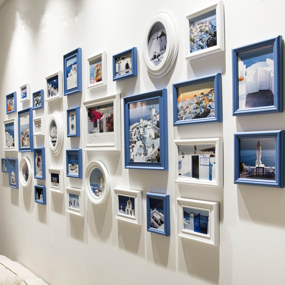 32 pcs/set Black Blue White Photo Frame,Mediterranean Style Wood Picture Frame Set Collage,Wintage Round Oval Photo Frames Wall