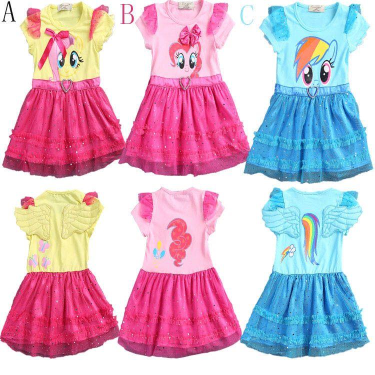 2017 для девочек новые модные цвет марлевые платье платье-пачка для девочек «Мой Пони» с рисунками для детей принцессы кружевное платье с бле...