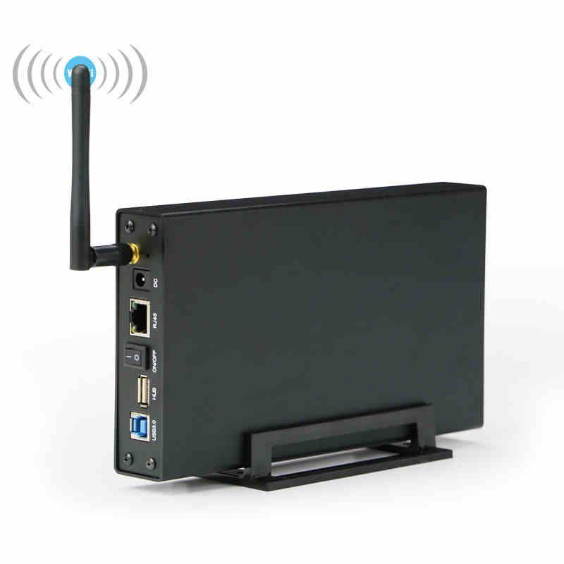 Wifi hdd ssd gehäuse sata 3,5 ''USB 3.0 drahtlose festplatte fall wifi lagerung RJ 45 router repeater AC ladegerät festplatte caddy