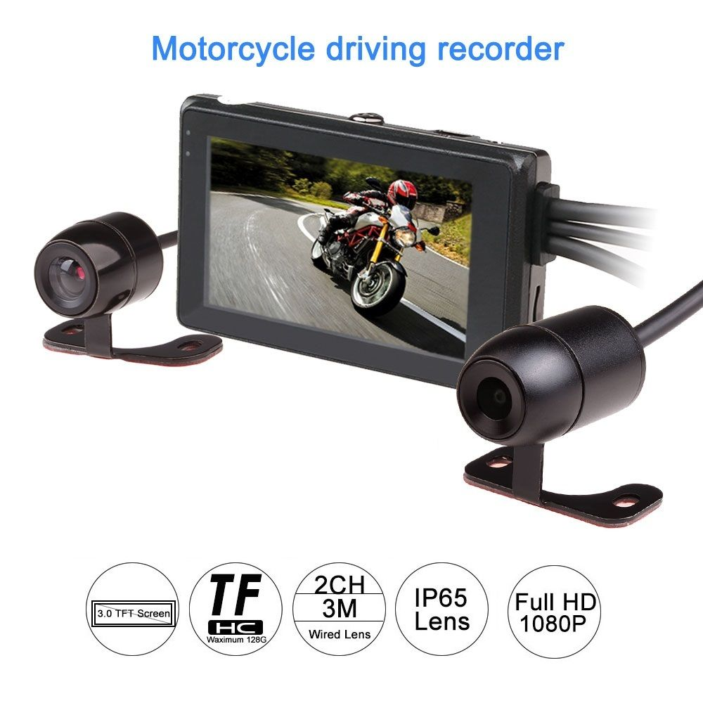 2017 latest 1080P motorcycle DVR motorbike video recorder front and rear view dual camera dash cam G-sensor optional gps tracker