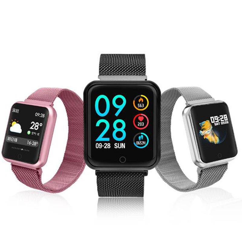 2019 P68 Men Women Smart Watch Blood Pressure Blood Oxygen Heart Rate Monitor Sports Waterproof Smartwatch for IOS Android