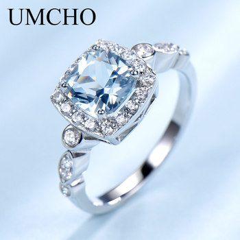 UMCHO S925 Real Anéis para As Mulheres Topázio Azul Anel de Prata Esterlina Gemstone Aquamarine Almofada Presente Romântico Engagement Jóias