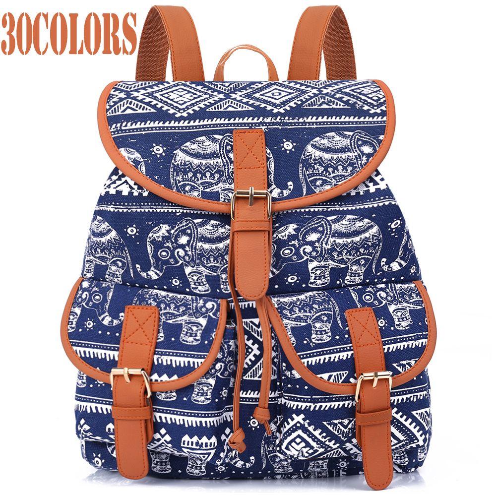 Sansarya New 2017 School Bag Bohemian Vintage Women Backpack Drawstring Printing Canvas Bagpack Sac a Dos Femme Rucksack Female