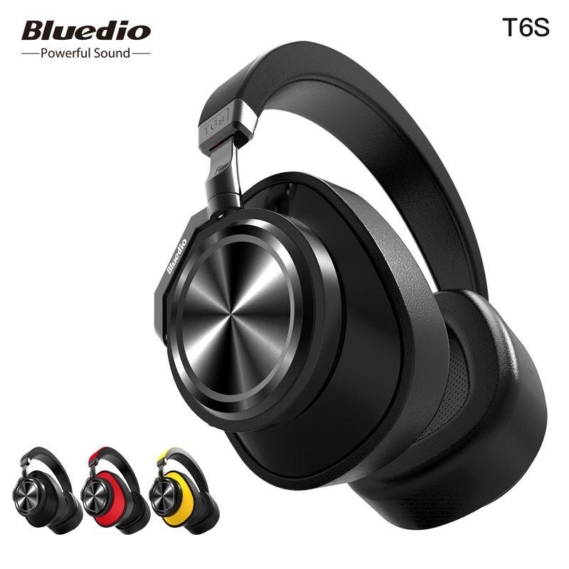 Bluedio T6S Bluetooth Casque Active Noise Cancelling Sans Fil Casque pour téléphones et musique avec commande vocale