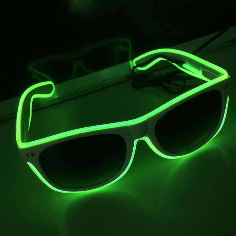 Halloween Flashing EL Wire Led Glasses Luminous Party Decorative Lighting Classic Gift Bright LED Light Up Party SunGlasses