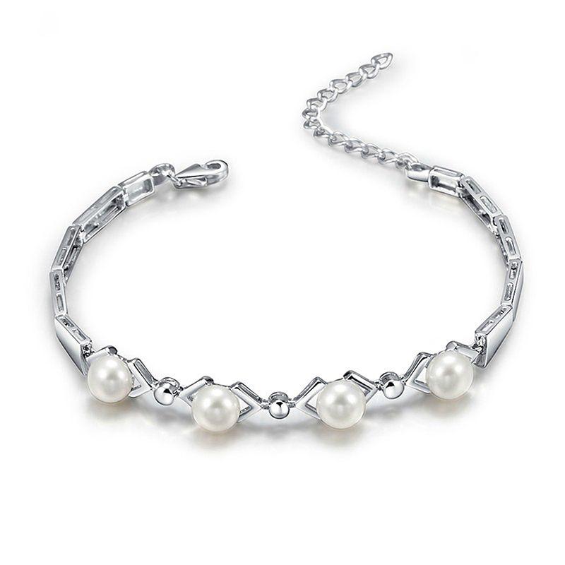 Sinya 925 sterling bracelet en argent pour les femmes avec AAA perles d'eau douce meilleur pour amant de noël fête d'anniversaire cadeau 2017 Chaude