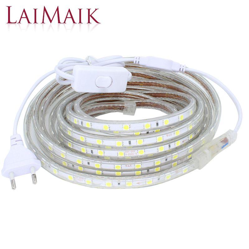 Laimaik светодиодные полосы света водонепроницаемый с на/выключения AC220V гибкие светодиодные ленты 60leds/M напольный прокладки для кухни