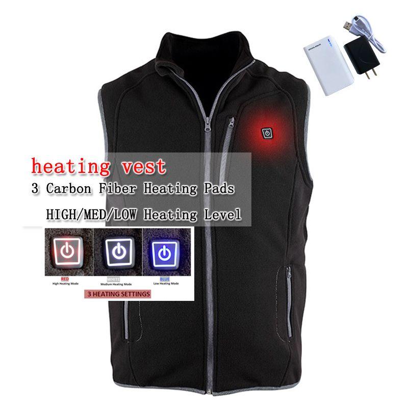 New arrival USB battery heating vest winter men vest charging Fleece vest balck coat  to keep the body warm 3 mode size xs-xxl