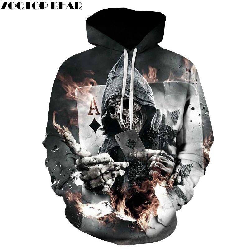 Skull Poker Hoodies Sweatshirts Men Women 3D Pullover Funny Rock Tracksuits Hooded Male Hoodie Fashion Casual Outwear Winter