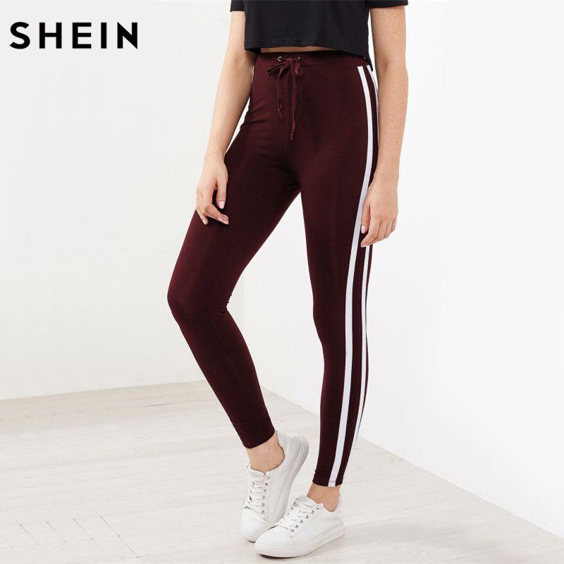 SHEIN Striped Sideseam Drawstring Leggings Burgundy Autumn Winter Pants Women Casual Fitness Activewear for Women