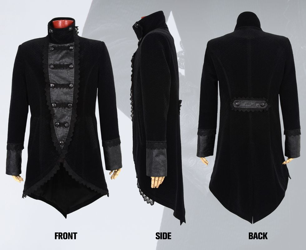 Punk Gothic Vintage Men Long Coat Steampunk Flocking Double Breasted Coat with Embroidery Autumn Winter Warm Handsome Jackets