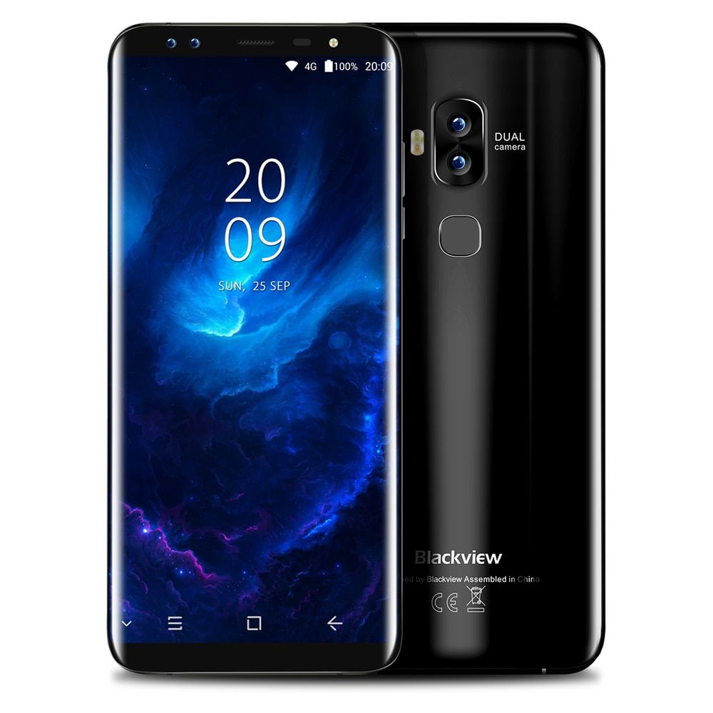 Blackview S8 4G Telephone 5.7 inch Android 7.0 MTK6750T Octa Core 4GB RAM 64GB ROM Dual Front Cameras Touch Sensor Mobile Phone