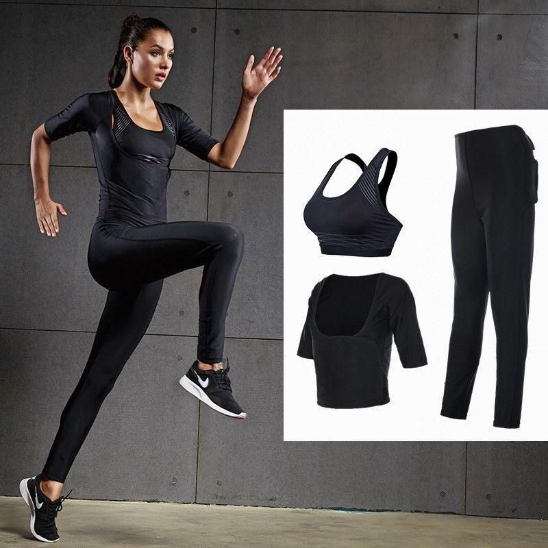 3PCS Women Yoga Set for Running T-Shirt Tops Sports Bra Vest Fitness Pants Short sleeve Pant Gym Workout Sports Suit Set