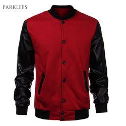Keren Pria Anggur Merah Bisbol Jaket Musim Gugur Fashion Slim Hitam PU Kulit Jaket Bomber Lengan Jaquetas Pria Merek Varsity Jaket