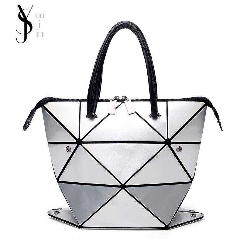 New Fashion Folded Women Handbags PU Leather BaoBao Bag Famous Designer Geometric Shoulder Bag Issey Miyak Diamond Tote Bags