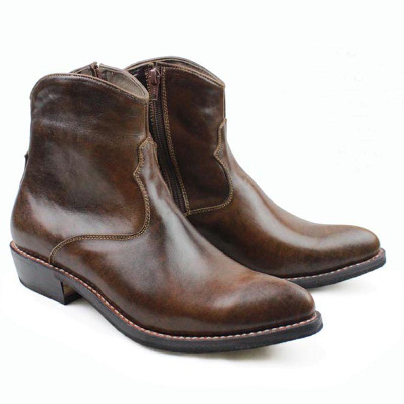 Westlichen Handgemachte Stiefel Männer Braun Rindsleder Echtes Leder Stiefel Männer Ankle Botas Militares Motorrad Stiefel Männer Nähen, EU38-45