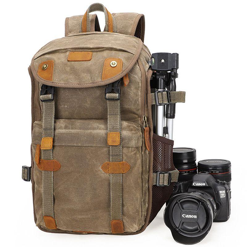 2019 neue Wasserdichte Batik Leinwand & Leder Retro Kamera Rucksack Casual Traval Shoulers Taschen für Canon Nikon Sony Stativ DSLR