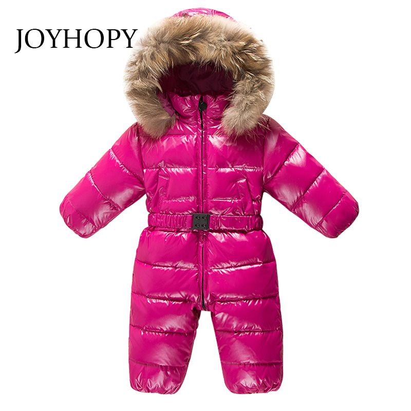 Baby Clothes Natrual fur hooded toddler down romper boys girls waterproof snowsuit warm jumpsuit overalls winter Baby Rompers