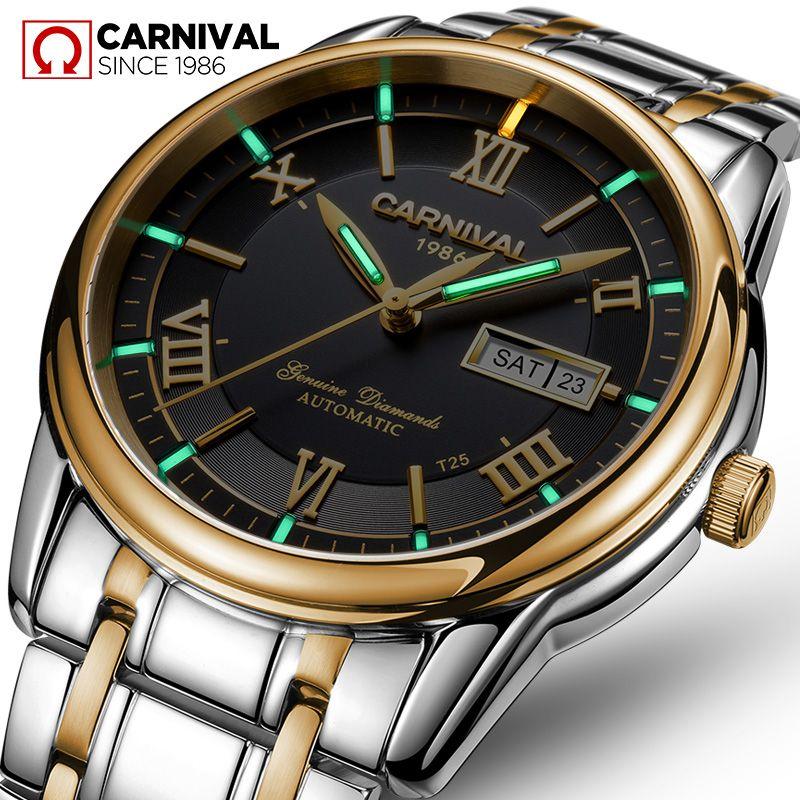 Carnival tritium T25 luminous Double calendar military automatic mechanical watch men luxury brand watches waterproof clock uhr