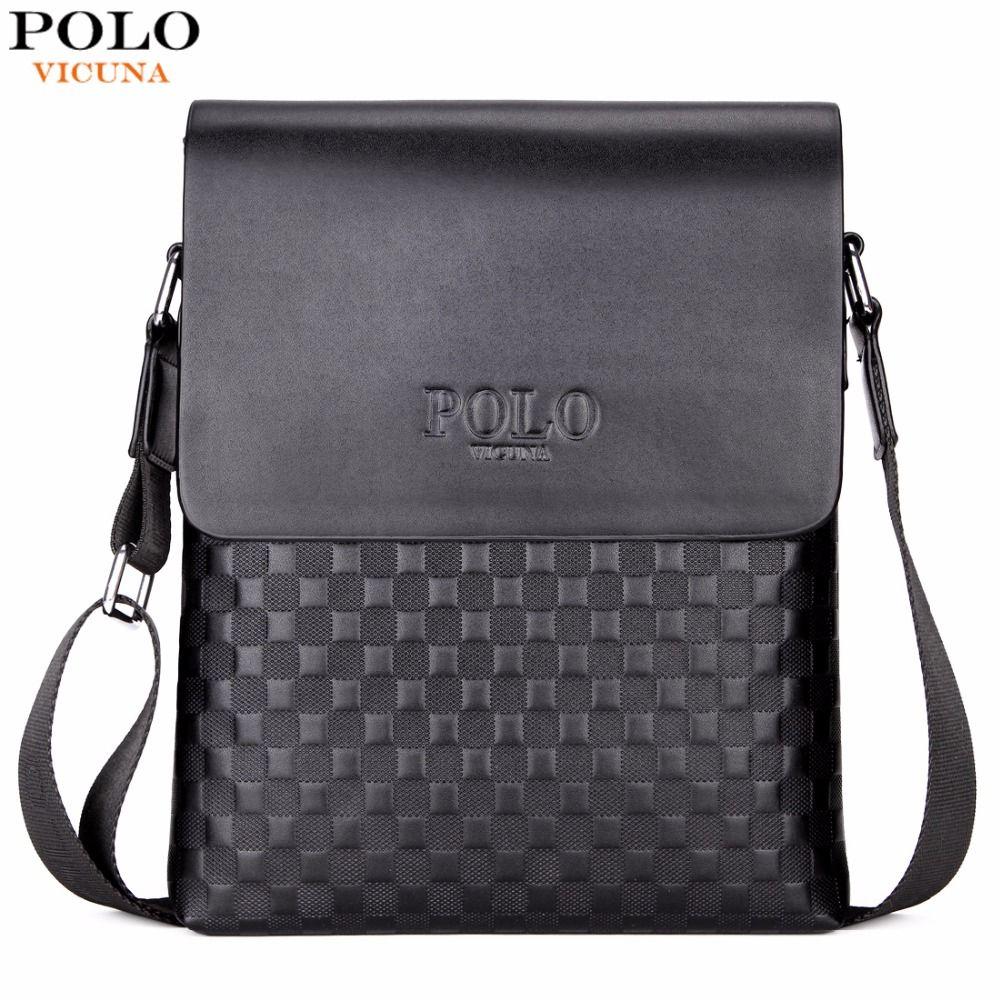 VICUNA POLO Classic Plaid Design <font><b>Business</b></font> Man Bag Vintage Brand Mens Messenger Bag Casual Grid Shoulder Bag For Male bolsa Hot