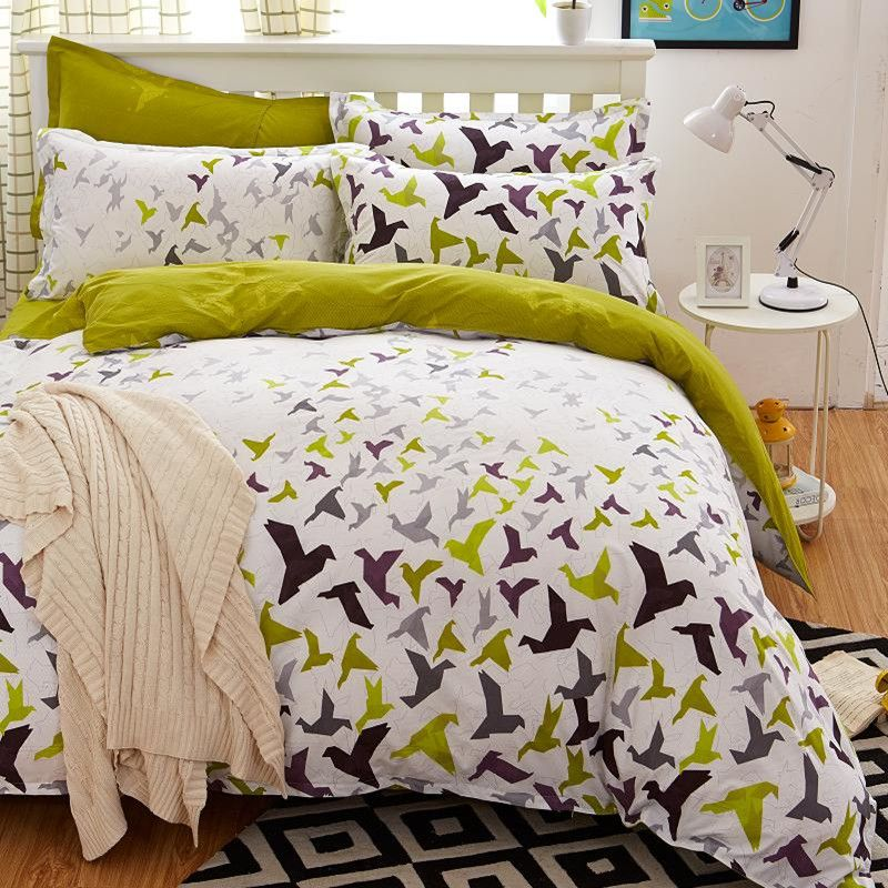 bedding set 5 size green bird bedding set duvet cover set Korean bed sheet +duvet cover +pillowcase pink bed cover bed linen set