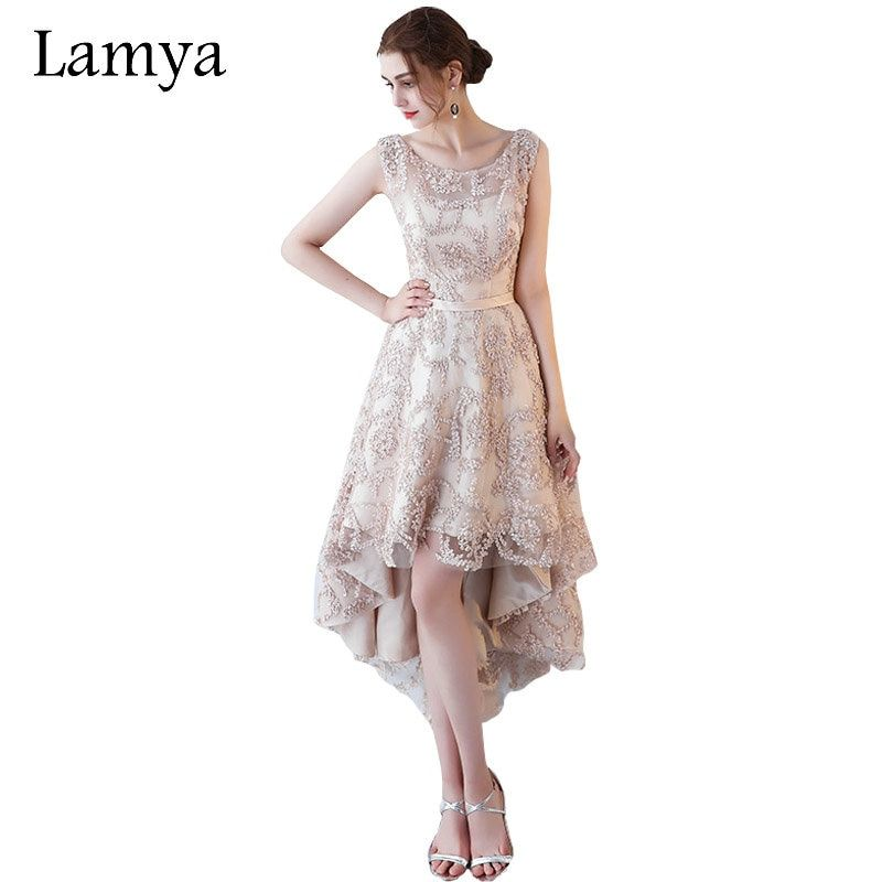 Lamya Princess Short Front Back Long Tail Cocktail Dresses Elegant 2017 Lace Up Evening Party Gown Women Special Occasion Dress