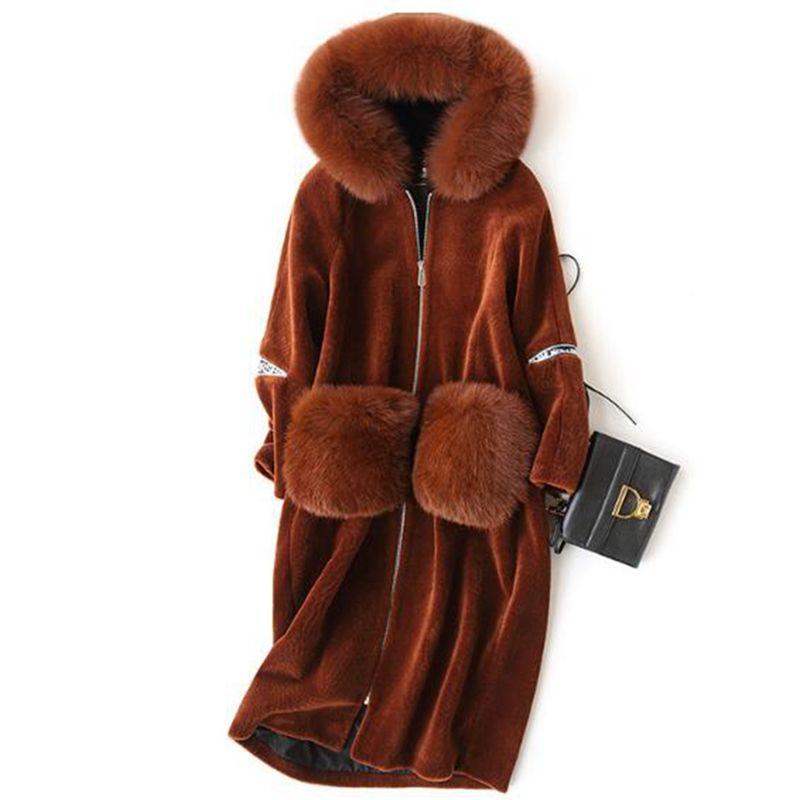 (TopFurMall) Real Wool Blend Fur Coat Jacket Fox Fur Hoody Winter Genuine Women Fur Warm X-Long Outerwear Coats Plus Size LF4135