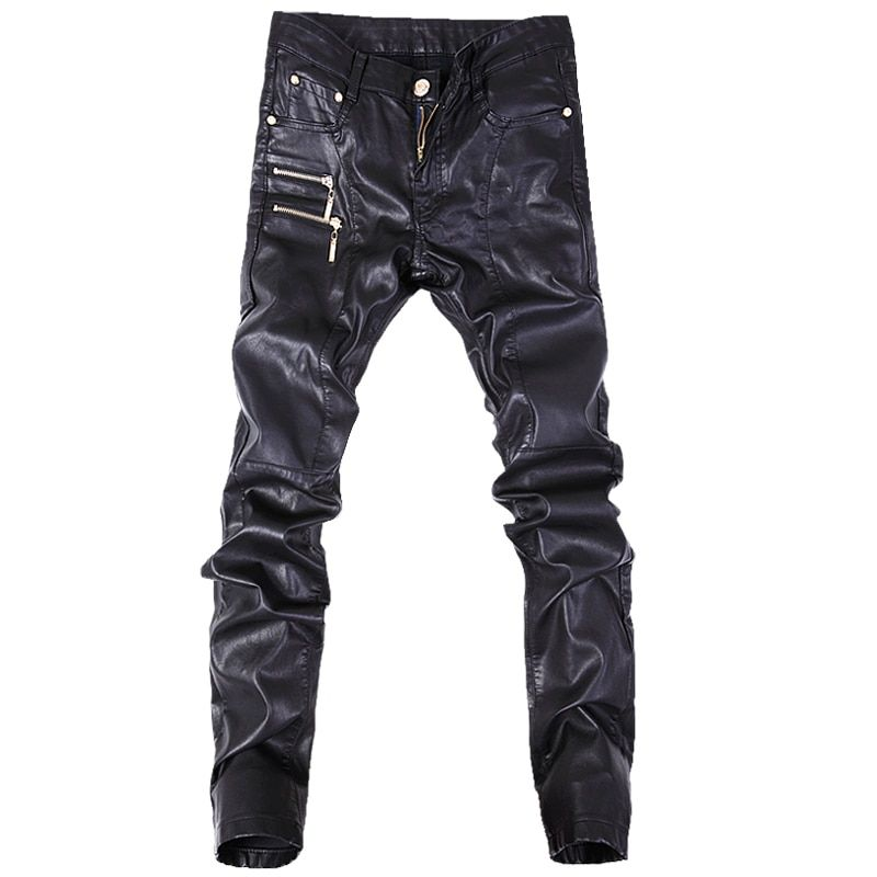 New fashion men leather pants skinny motorcycle straight jeans casual trousers size 28-36 A103