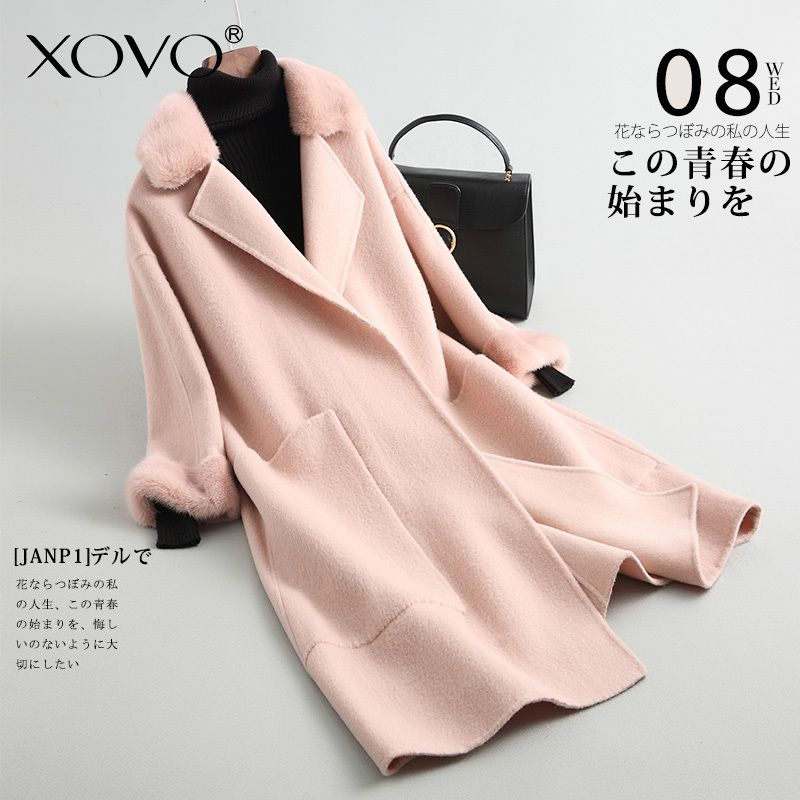 Wool coat womens jacket jaqueta collar cuffs Mink double-sided woolen coat female long section lapel design aristocratic style