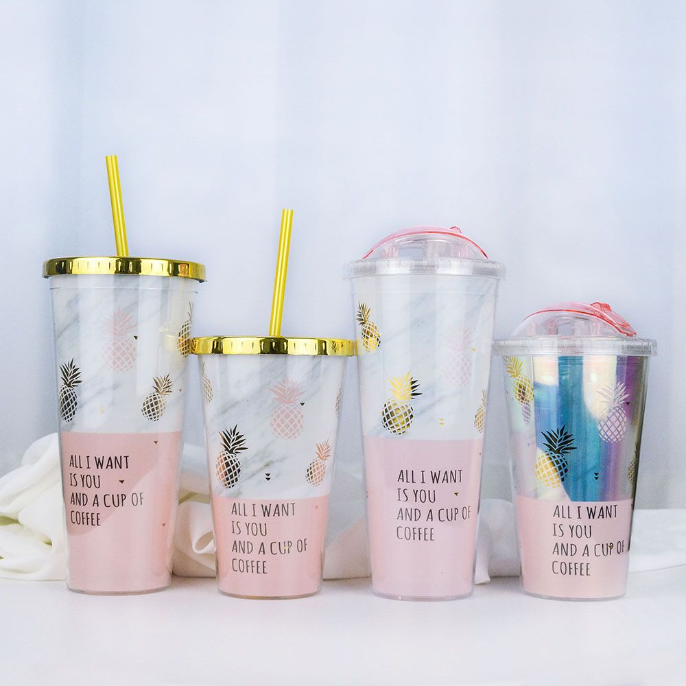 Gold Plating Pineapple Mugs Plastic Double Layer Water Bottle With Straw Pink Travel Portable Juice Coffee Milk Cup Drinkware