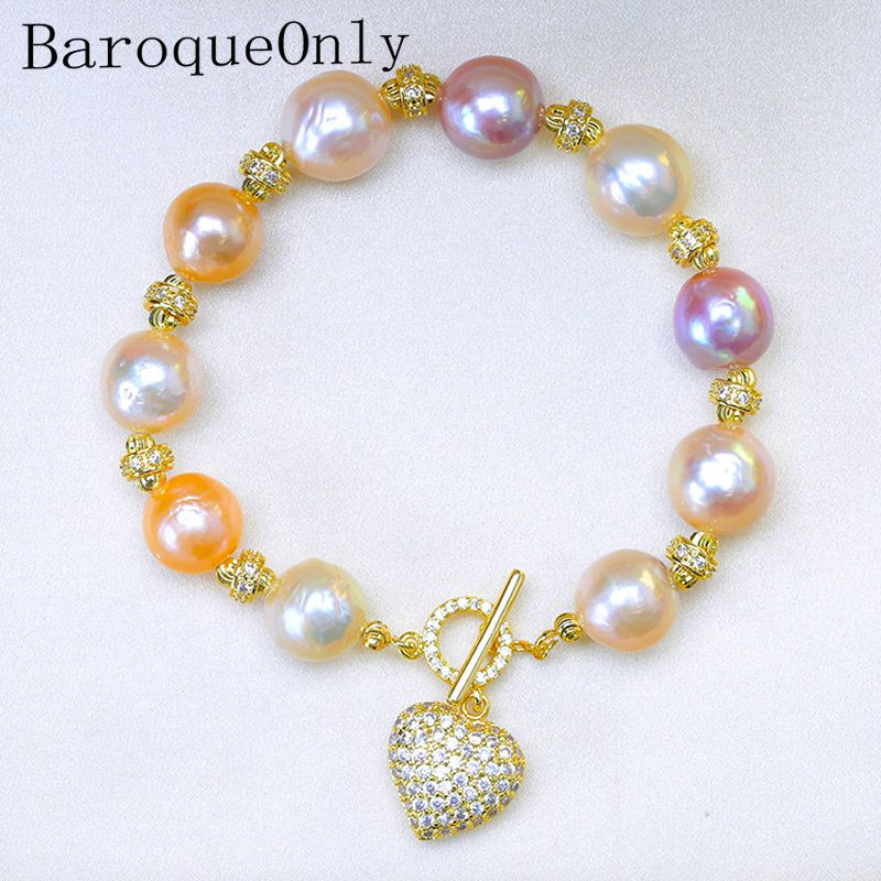 BaroqueOnly Natural Freshwater baroque Pearl Bracelets HEART pendant mixed-colour irregular Pearl Jewelry