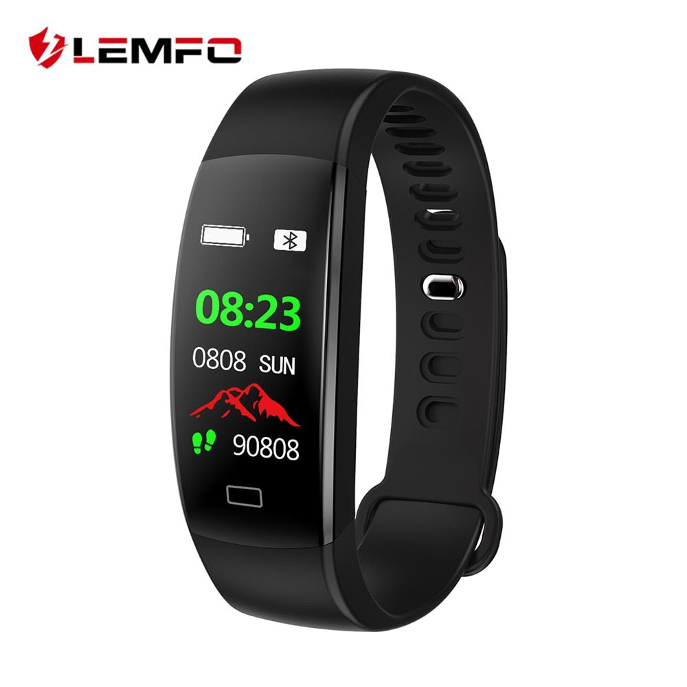LEMFO Smart Fitness Bracelet Men Color Screen IP68 Waterproof Blood Pressure Heart Rate Monitor Wristband for Android IOS