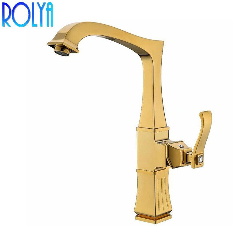 Rolya Rose Golden Kitchen Faucet Modern Style Swivel Sink Mixer Taps Oil Rubbed Bronze