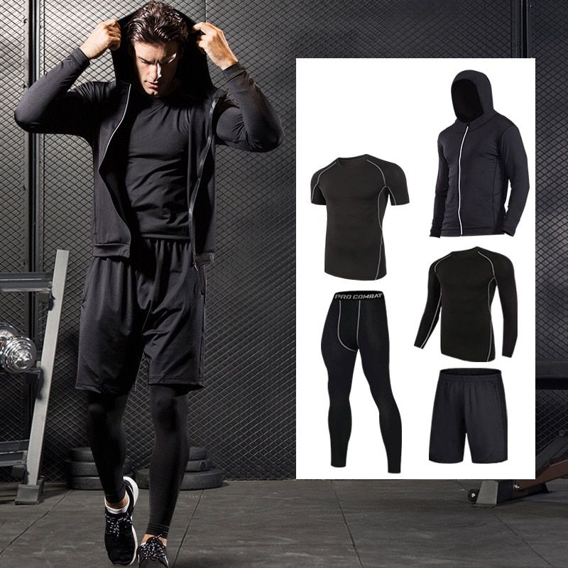 Quick Dry Sport Suits Men Compression Running Suits Breathable Basketball Training Sportwear Gym Warm Workout Fitness Clothing