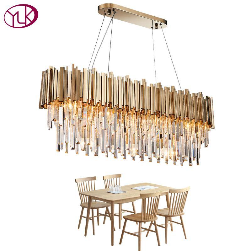 Youlaike Rectangle Modern Crystal Chandelier Dining Room Luxury Living Room LED Lighting Fixture Large Kitchen Lustre Cristal