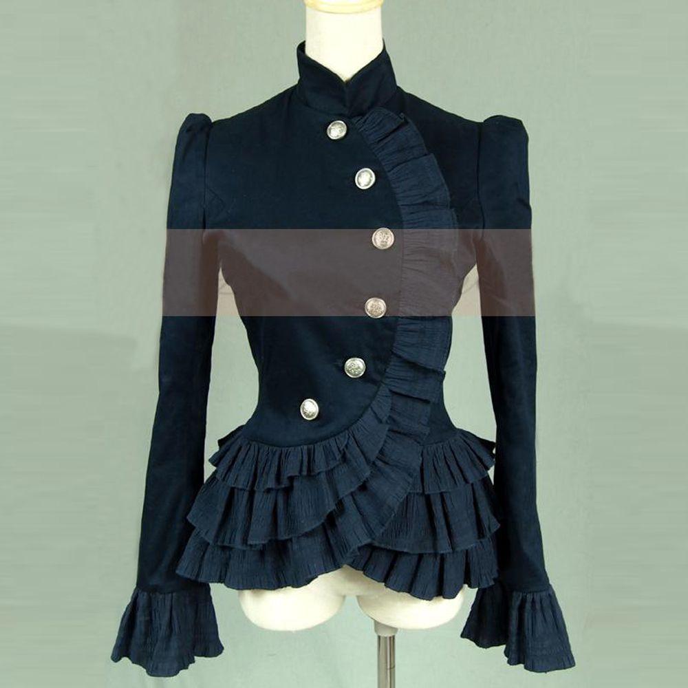 Весенние женские гофрированные рубашки Винтаж викторианской короткая куртка Дамы Готический блузка Лолита костюм