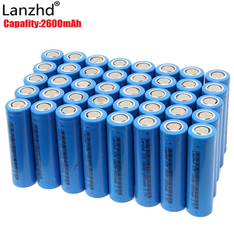 40pcs 18650 battery 3.7V Rechargeable Batteries li-ion 2600mAh ICR18650 lithium ICR 26F batteries for Led Flashlight Newest