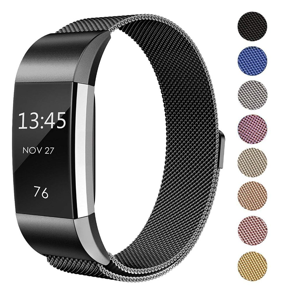 Bandes magnétiques milanaises en métal pour Fitbit Charge 2 bracelet de remplacement en acier inoxydable petit grand pour Wonmen Men 9.6