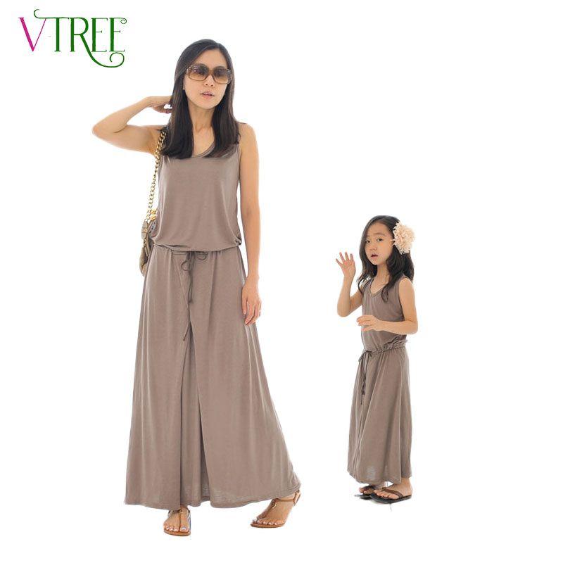 V-TREE Сезон лето одинаковая одежда для мамы и дочери длинное платье с поясом семейный образ мамы и дочки детская одежда платье для мамы и дочк...