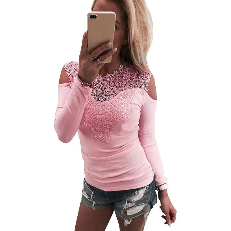 Douce Dentelle T-Shirt Femmes Outre De L'épaule Rose Slim Fit T-Shirts Dames O-cou Automne Casual Élégant Tops T-Shirts Femmes Vêtements