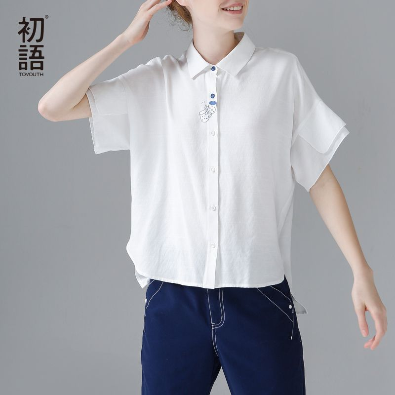 Toyouth Women Short Front Long Back White Shirts 2018 Fashion Beer Printed Short Sleeve Summer Tops And Blouses Camisa Feminina