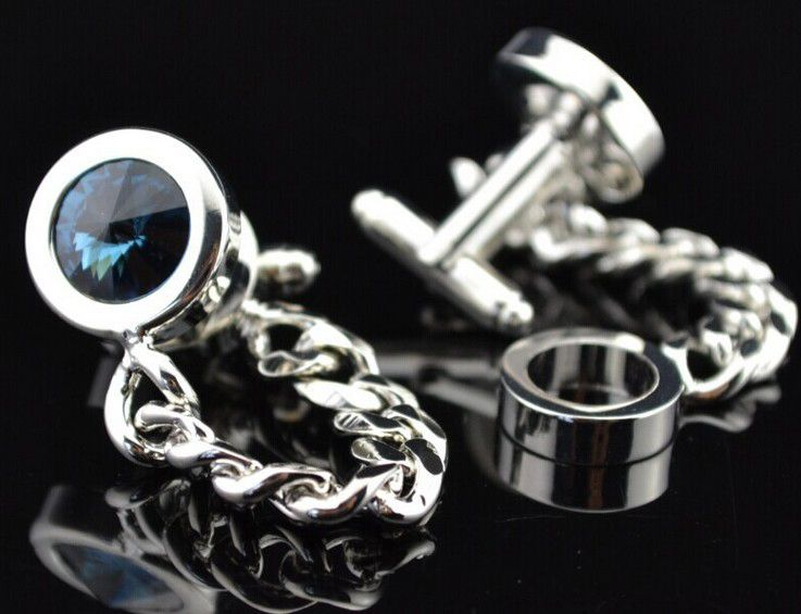 Free shipping Men Novelty Cufflinks 6colors option top crystal chain design hotsale copper material cufflinks whoelsale&retail