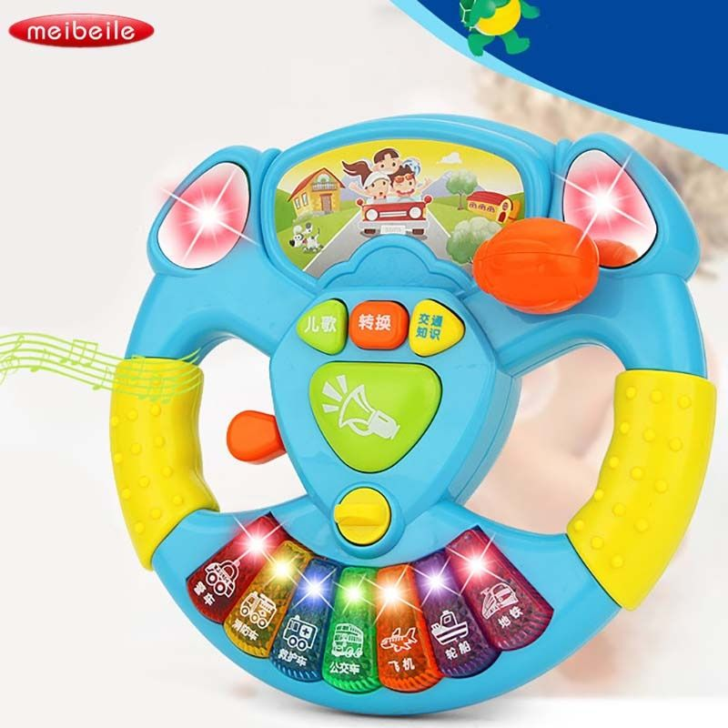 Electric Toy Musical Instruments For Kids Baby Steering Wheel Musical Handbell Developing Educational Toys For Children Gift