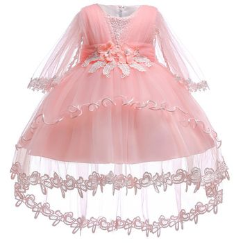 New infant baby girls dress 2018 summer Lace floral Baptism Dresses for Girls 1st year birthday party wedding baby clothes tulle