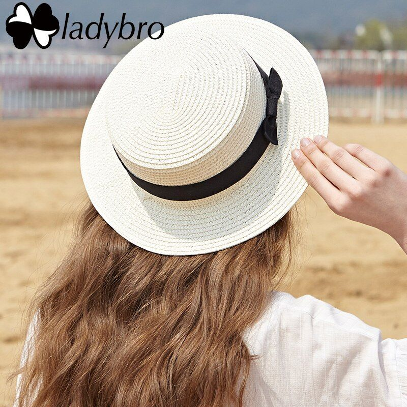 Ladybro été femmes Boater plage chapeau femme décontracté Panama chapeau dame ruban classique Bowknot plat soleil chapeau femmes Fedoras voyage