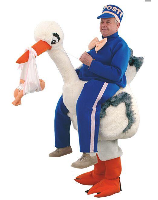 Masco vestuario espalda cigüeña Traje Traje de La Mascota para adultos de la navidad de Halloween Fancy Dress Suit Envío Gratis