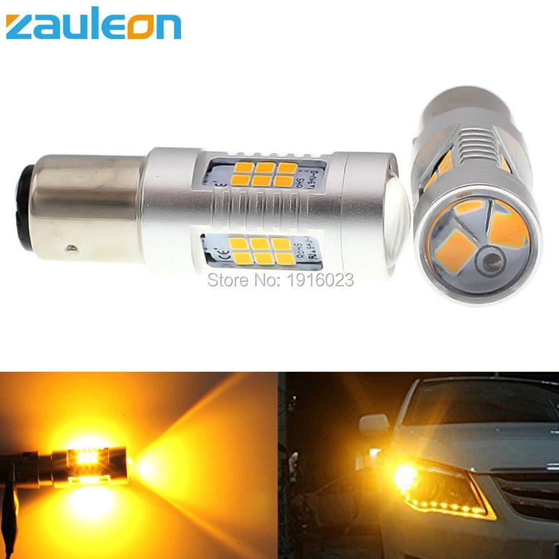 Zauleon 2 шт. 1156 1157 P21W P21/5 Вт 805 Люмен LED указатель поворота BAU15S PY21W желтый индикатор парковка лампы автомобиль-Стайлинг