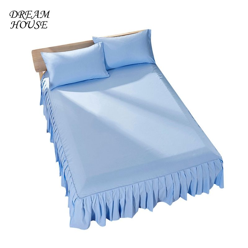 Home Bed Skirts Solid Color Hotel Bed Skirt Ruffle Bedspread Fashion Bed Skirts Home Sheet Hotel Bedcover Home Textile 7colors
