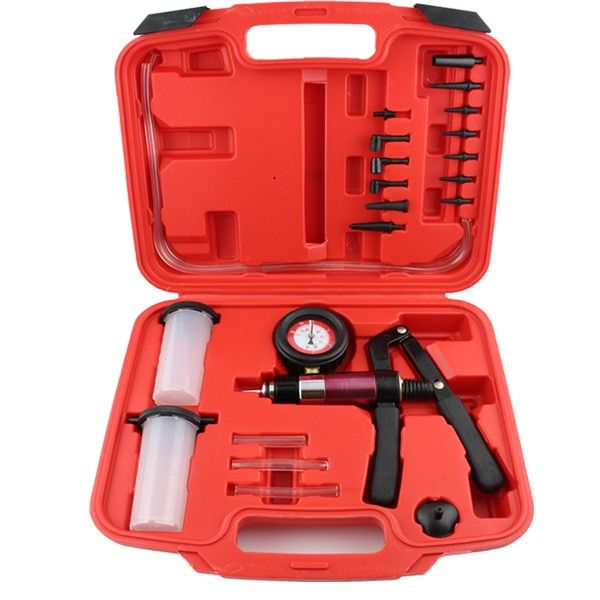 Hand-Held Vacuum Pump and Pressure Pump Brake Bleeding Kit-Aluminum Pump Body